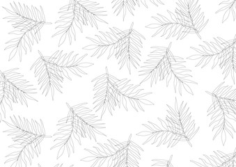 Line art leaves on white background | Natural element wallpaper backdrop