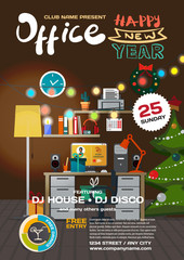 Vector christmas party invitation disco style in office. Templat