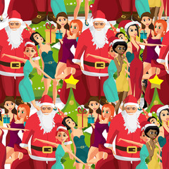 Seamless textile pattern party with girls and Santa Claus