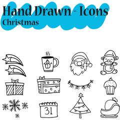 Collection Christmas icon set hand draw