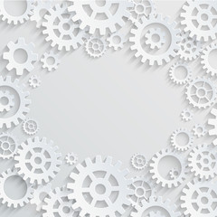 Vector gears and cogs grey background with place in the center