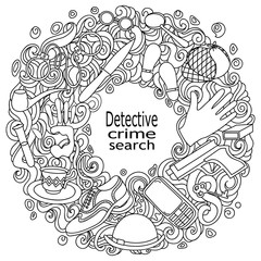Cartoon cute doodles hand drawn Detective and criminal vector illustration. Sketch detailed, with lots of objects background.