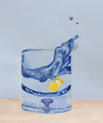 glass with water and lemon, splash, creative object painting wat
