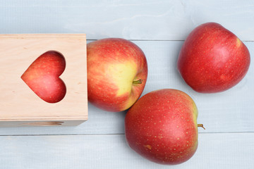 Apples with valentine gift box