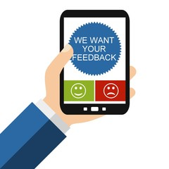 We want your Feedback auf dem Smartphone