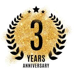 Three years anniversary symbol.