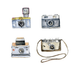 Watercolor set of illustrations of film cameras isolated on white. Aquarelle vintage photocameras