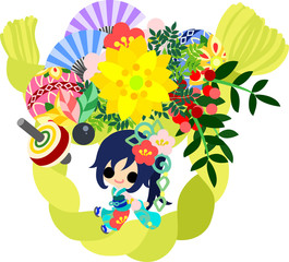 The cute illustration of stylish girls in Kimono (Japanese style cloth). And it is usable to New Year holidays use including the New Year's card.