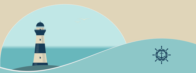 Old lighthouse on sea background and abstract wave. Flat vector illustration in banner or poster format.