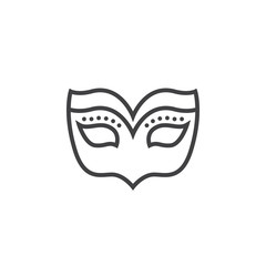 Masquerade mask line icon, outline vector sign, linear pictogram isolated on white. logo illustration
