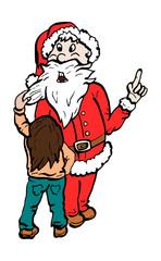 Meisje controleert de baard van de kerstman