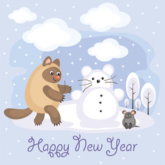 New Year greeting card with an amusing cat and mouse. Winter entertainments. Fun children's background in cartoon style.
