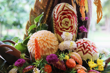 Group of Fruits Carving