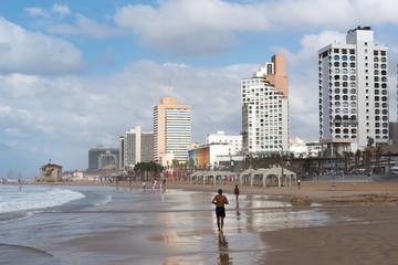 Tel Aviv beach in stormy day, Israel.