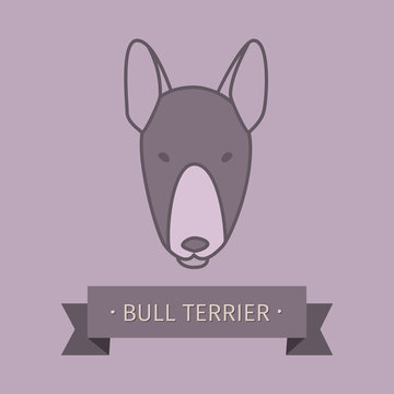 Bull terrier breed dog for logo design. Vector colored hand drawn dog head