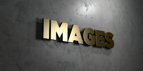 Images - Gold sign mounted on glossy marble wall  - 3D rendered royalty free stock illustration. This image can be used for an online website banner ad or a print postcard.