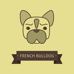 French bulldog breed dog for logo design. Vector colored hand drawn dog head