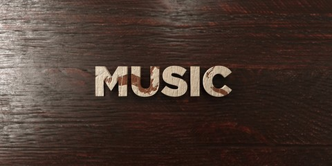 Music - grungy wooden headline on Maple  - 3D rendered royalty free stock image. This image can be used for an online website banner ad or a print postcard.