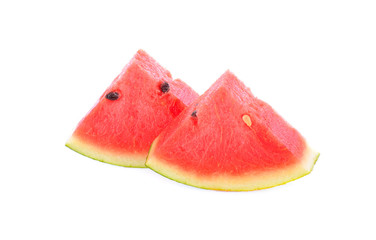 Two pieces of watermelon on a white background.