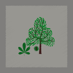 flat shading style illustration tree Castanea