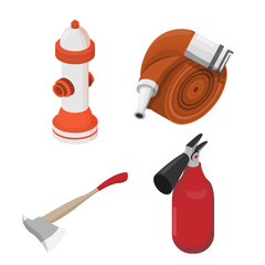 Objects to deal with dangerous situations. Vector isometric illu