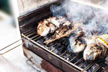 Grilled fish barbecue with spices on the grill close up.