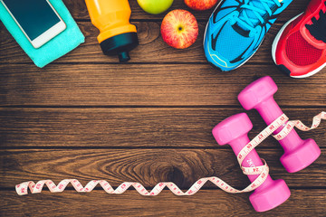 Fitness, healthy and active lifestyles Concept, dumbbells, sport