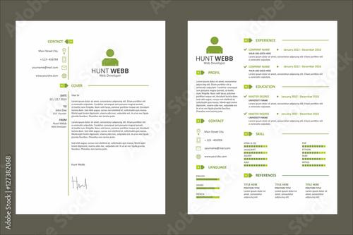 Cv Curriculum Vitae Resume Simple Tag Clean Green Template Vector