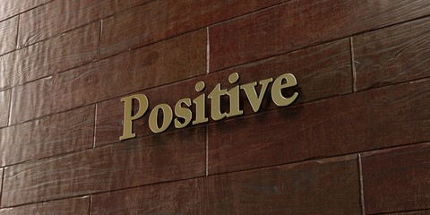 Positive - Bronze plaque mounted on maple wood wall  - 3D rendered royalty free stock picture. This image can be used for an online website banner ad or a print postcard.
