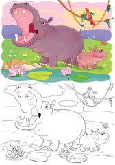 Cute African animals. A hippo. Coloring page.
