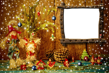 Funny Christmas photo frame card. Copyspace