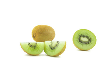 Fototapete - sliced Kiwi fruit isolated on white background cutout