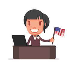 Character with USA Flag