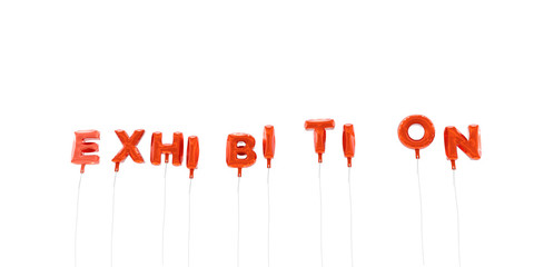 EXHIBITION - word made from red foil balloons - 3D rendered.  Can be used for an online banner ad or a print postcard.