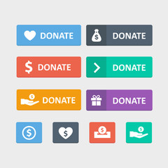 Donate button vector set