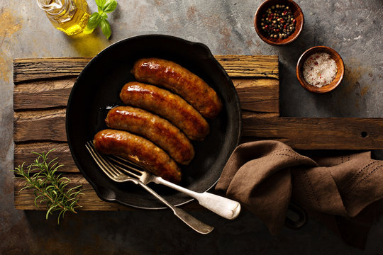 Homemade sausage with herbs and cheese