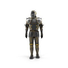 Full suit of Armour on white. 3D illustration