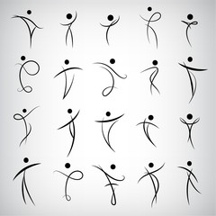 Vector set of Abstract Human Symbols, men logos. Success, Achievement