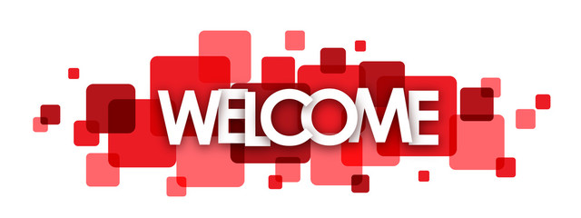 """WELCOME"" overlapping letters vector banner"