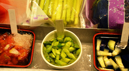Traditional Fresh market in Kyoto Japan. Asian food.