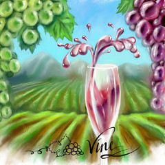 wine and grape vineyards field landscape drawing