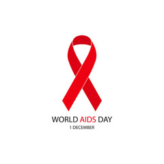 World Aids Day concept with text and red ribbon.