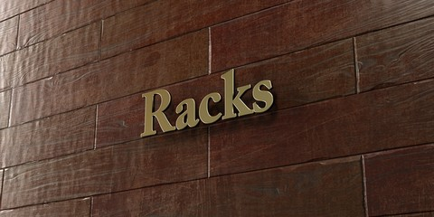 Racks - Bronze plaque mounted on maple wood wall  - 3D rendered royalty free stock picture. This image can be used for an online website banner ad or a print postcard.