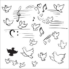 birds and notes vector