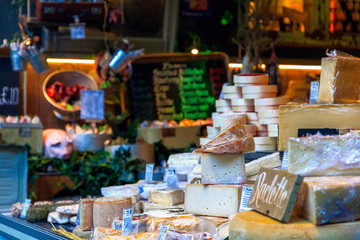 Variety of cheese on display in Borough Market, London