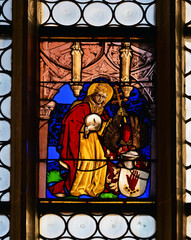 Foto op Plexiglas Stained Bleiglasfenster im Münster Sankt Nikolaus Überlingen