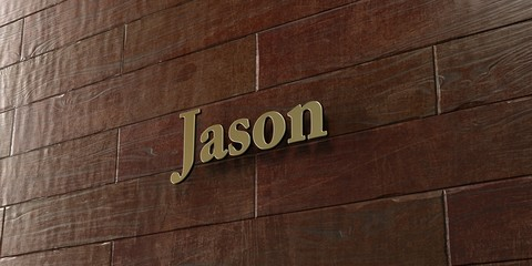 Jason - Bronze plaque mounted on maple wood wall  - 3D rendered royalty free stock picture. This image can be used for an online website banner ad or a print postcard.