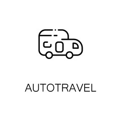 Autotravel flat icon or logo for web design.