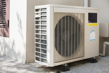 air conditioners installation outside on the floor