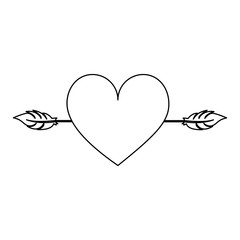 heart cartoon with arrow icon image vector illustration design